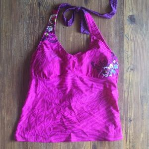 Athleta Floral Adjustable Halter Tankini Swim Top